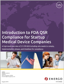 Download our whitepaper about FDA QSR Compliance for Startup Medical Device Companies