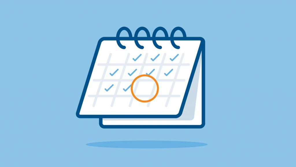 Illustration of a calendar with one date circled