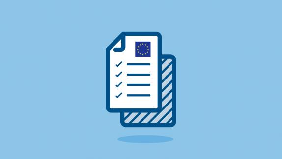 Illustration of a document with an image of the EU flag