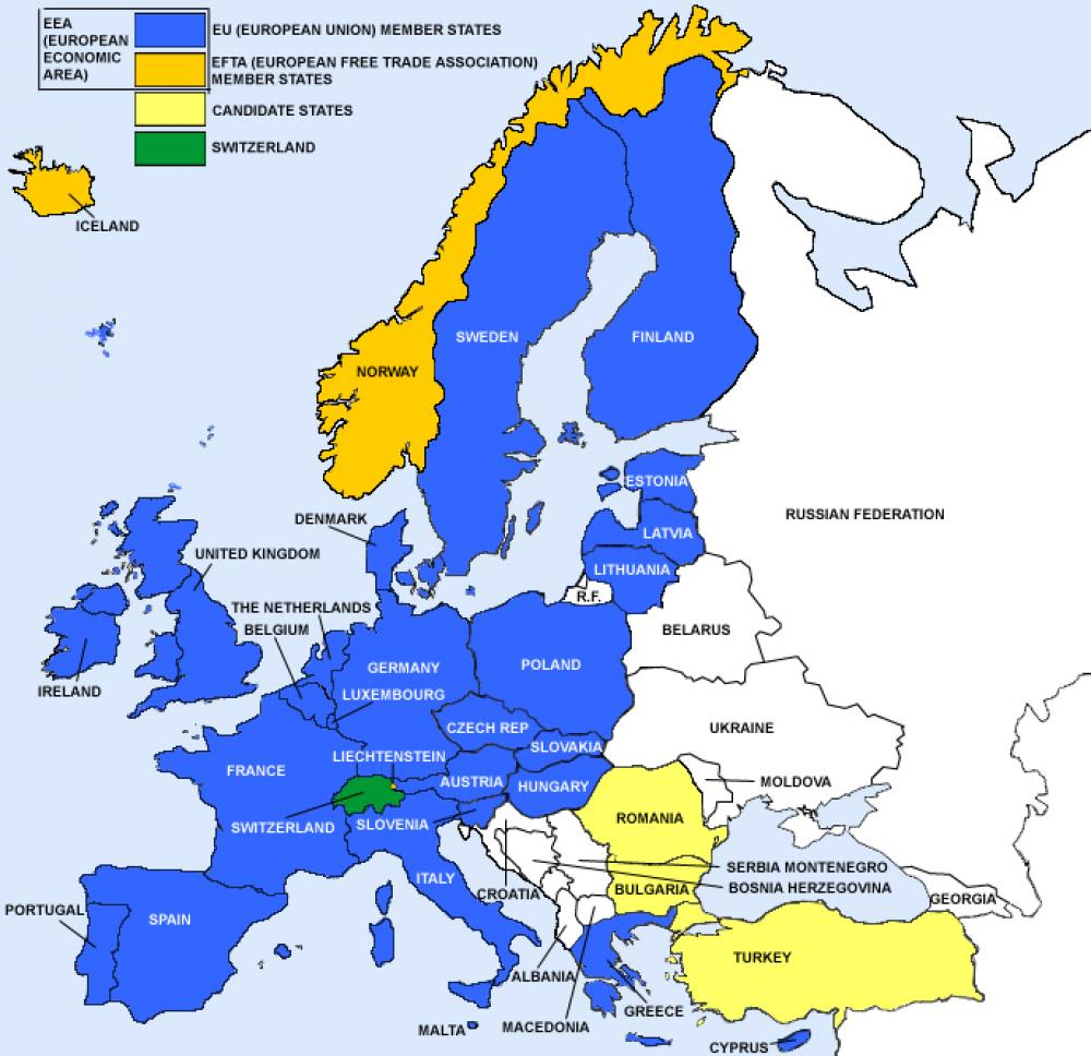 Map of European countries that require the CE Mark, CE Marking
